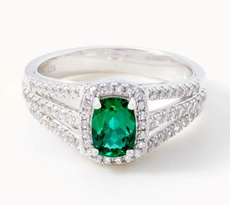 Diamonique Simulated Emerald Ring, Sterling Silver