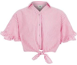 River Island Girls pink stripe tie front shirt