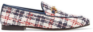 Gucci Jordaan Horsebit-detailed Leather-trimmed Tweed Loafers - White