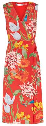 Alice + Olivia Tasia Red Printed Silk Wrap Dress