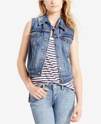 Levi's® Cotton Denim Trucker Vest $59.50 thestylecure.com