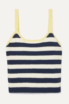 STAUD Capo Striped Crocheted Cotton Tank - Navy