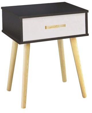 DL furniture - Nightstand Modern Fashion 4 Thin Long Legs Space Station - 1 Tier Cubic Night Stand Storage Bedside Table with 1 Drawer | Real Natural Paulownia Wood | Navy & White