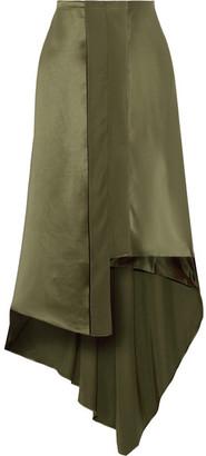 Elizabeth and James - Sydney Asymmetric Silk-satin Midi Skirt - Army green $375 thestylecure.com
