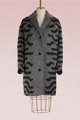 Kenzo Wool Coat with Zippered Pockets
