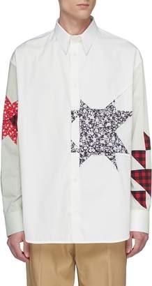 Calvin Klein Detachable collar floral print geometric appliqué colourblock shirt