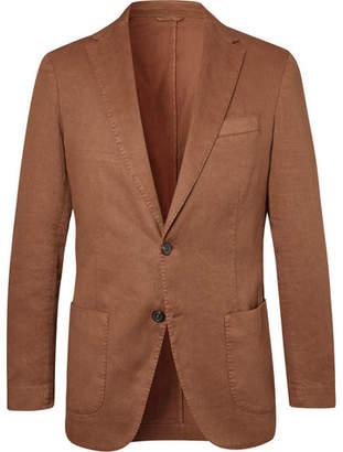 Altea Tobacco Unstructured Garment-Dyed Stretch Linen And Cotton-Blend Drill Blazer
