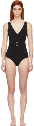 Lisa Marie Fernandez Black Yasmin Belted One-Piece Swimsuit