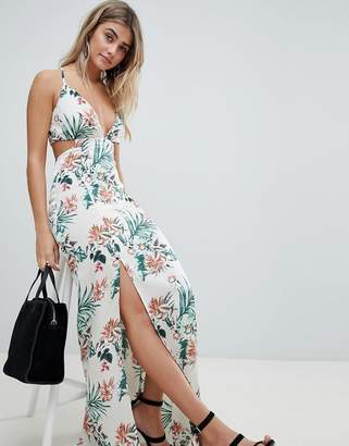 Missguided Tropical Print Side Split Maxi Dress