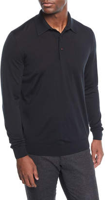 Kiton Men's Long-Sleeve Wool Polo Shirt