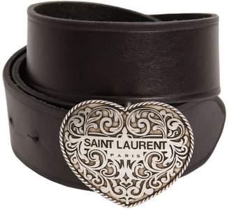 Saint Laurent 40mm Boucle Heart Leather Belt