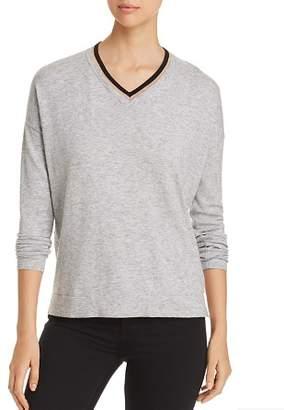 Donna Karan Contrast V-Neck Sweater