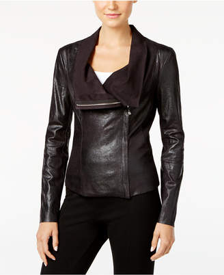 Calvin Klein Distressed Faux-Leather Moto Jacket $129.50 thestylecure.com