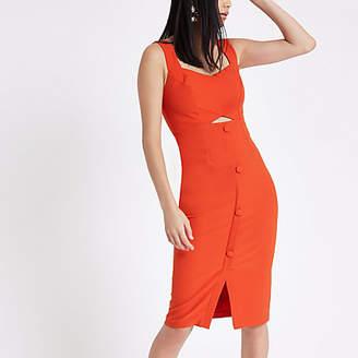 River Island Womens Orange button front midi bodycon dress