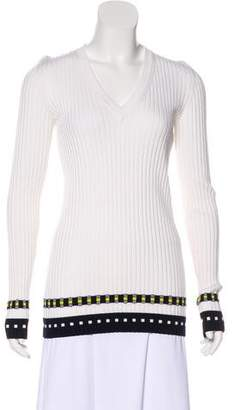 Victoria Beckham Rib Knit V-Neck Sweater