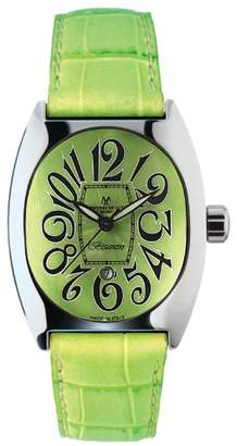 Montres de Luxe Women's BI3 VER Bisanzio Stainless Steel Luminous Mint Leather Date Watch