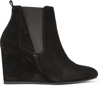Lanvin - Suede Wedge Ankle Boots - Black $725 thestylecure.com