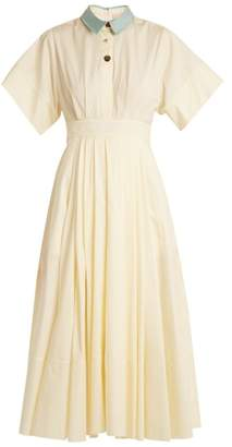 Roksanda Pinara Pleated Cotton Poplin Dress - Womens - White Multi