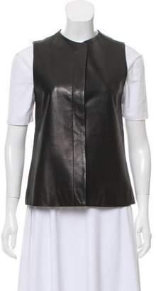 The Row Leather Crew Neck Vest