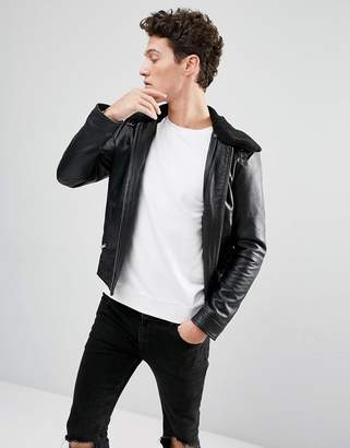 Selected Leather Jacket with Removable Fleece Collar