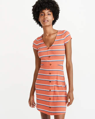 Abercrombie & Fitch A&F Women's Short-Sleeve Button-Up Knit Dress in Orange - Size XL