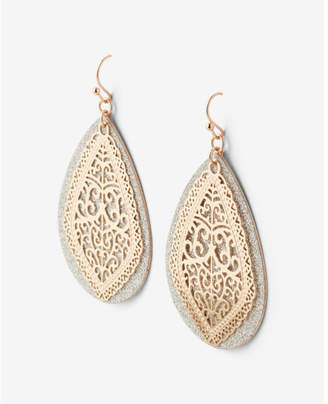 Express Teardrop Glitter Filigree Drop Earrings $22.90 thestylecure.com