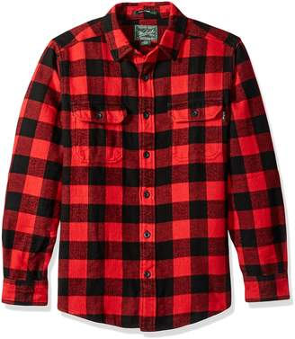 Woolrich Men's Oxbow Bend Flannel Shirt Modern Fit, Black/Red