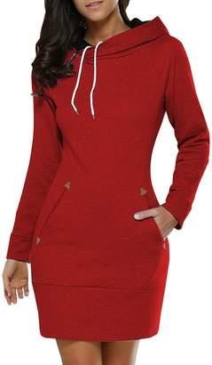 BIUBIU BUIBIU Women's Long Sleeve Cotton Slim Fit Midi Hoodie Dress with Pocket 5XL