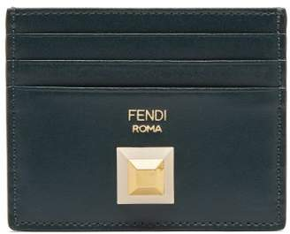 Fendi Stud Embellished Leather Cardholder - Womens - Dark Green