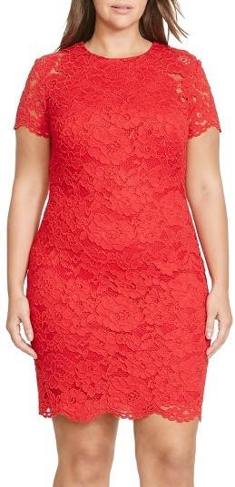 Lauren Ralph LaurenPlus Size Women's Lauren Ralph Lauren Lace Sheath Dress