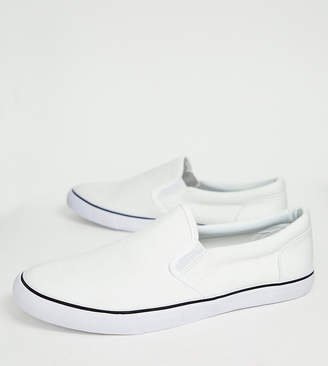 Asos Wide Fit Slip On Sneakers In White Canvas