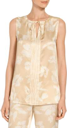 St. John Painted Floral Hammered Satin Silk A-Line Shell