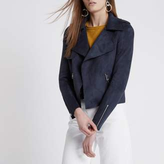 River Island Womens Navy faux suede cropped trench jacket