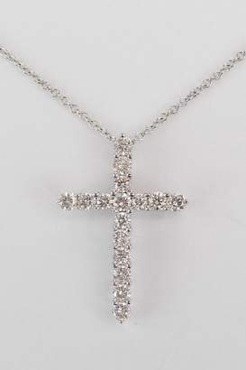 "Margolin & Co 14K White Gold Cross, 1.01 ct Diamond CROSS, Cross Pendant, Diamond Cross Necklace, Religious Jewelry Charm 18"" Chain"