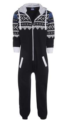 Haseil Men's Onesie Pajamas Non Footed With Hood Front Zipper One Piece Jumpsuit