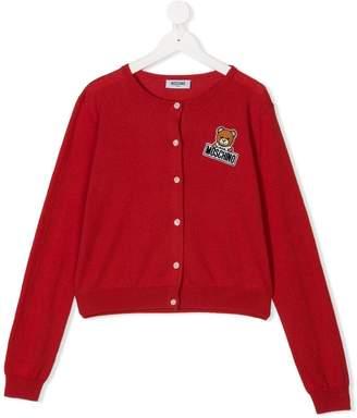 Moschino Kids TEEN Teddy embroidered cardigan