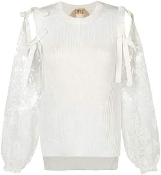 No.21 self-tie lace sleeve top