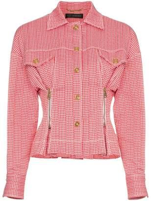 Versace check print zip detail cropped jacket