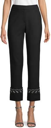 Oscar de la Renta Embellished Wool Blend Pants