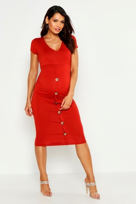 boohoo Maternity Wrap Front Horn Button Midi Dress