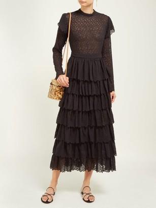 Sir - Florrie Tiered Broderie Anglaise Silk Midi Dress - Womens - Black