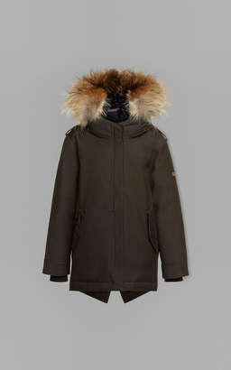 Mackage LENNY twill parka down coat with hood and fur trim