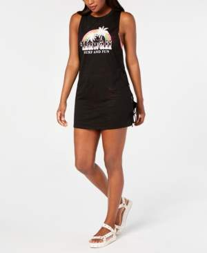 Miken Juniors' Lace-Up-Side Graphic-Print Cover-Up Women's Swimsuit