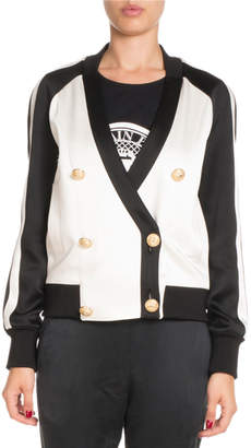 Balmain Bicolor Double-Breasted Track Jacket