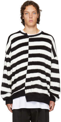 D by D Black and White Unbalanced Striped Sweater
