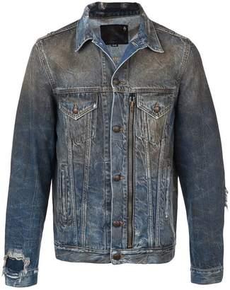 R 13 zipped detail denim jacket