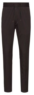 Tapered-fit pinstripe pants with drawstring waistband