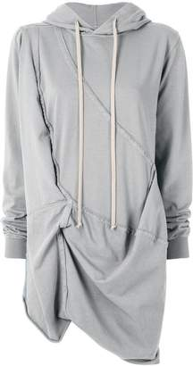 Rick Owens asymmetric gathered front hoodie