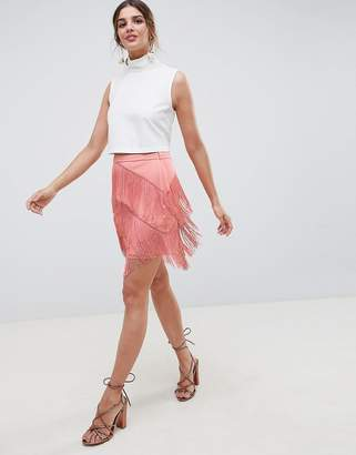 Asos Design DESIGN fringe mini skirt