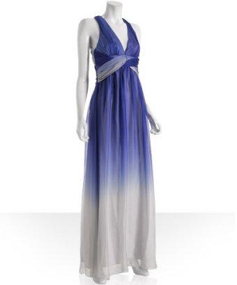 A.B.S. cobalt ombre chiffon cross back gown